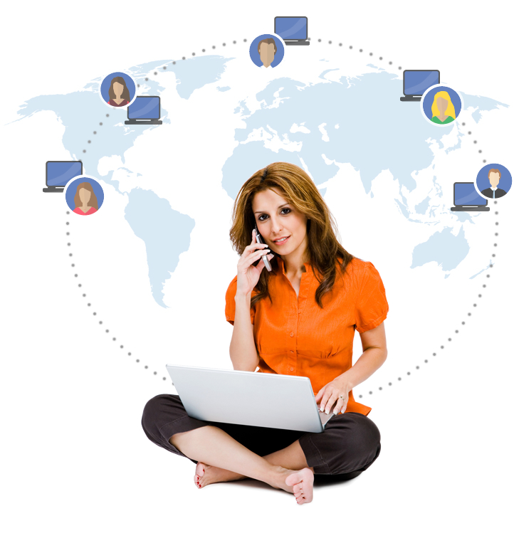 Woman sitting with legs crossed, talking on cell phone with laptop 0n lap.