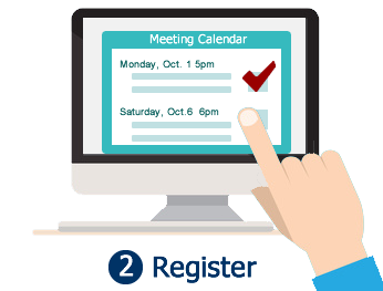 Step 2: Register for meetings.  Photo shows the SGC meeting calendar with a member selecting a meeting.